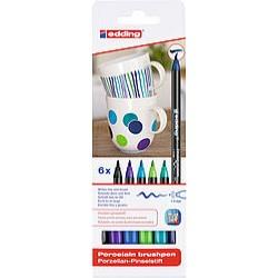 Edding Porselen Kalemi 6 lı Set , Soğuk Renkler E-4200